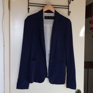 ZARA BASIC Womens Navy Blue Blazer